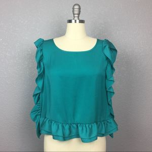 •Forever 21• Ruffle Teal Blouse